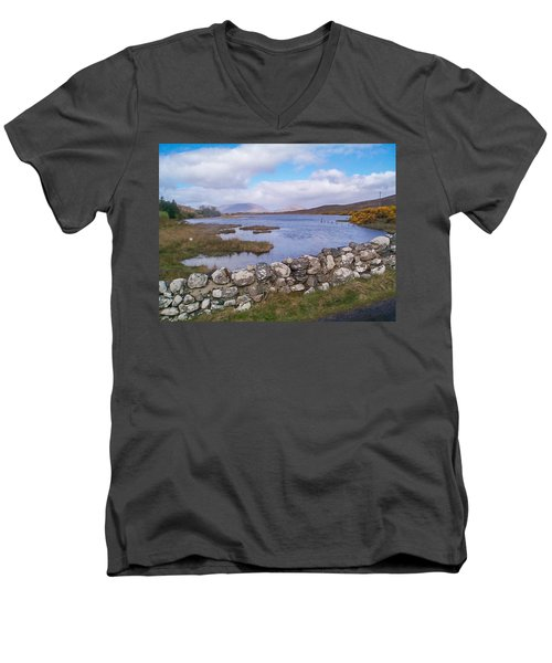 Men's V-Neck T-Shirt featuring the photograph View From Quiet Man Bridge Oughterard Ireland by Charles Kraus