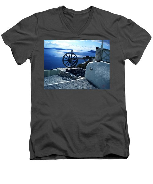 Men's V-Neck T-Shirt featuring the photograph View From Santorini Island Greece by Colette V Hera  Guggenheim