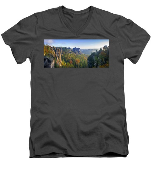 View From The Bastei Bridge In The Saxon Switzerland Men's V-Neck T-Shirt