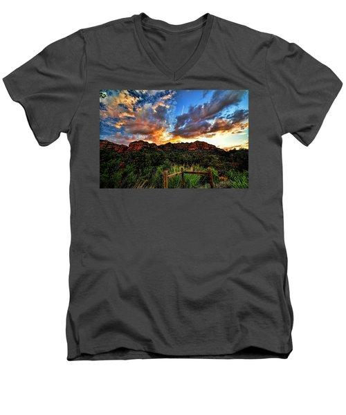 View From The Fence  Men's V-Neck T-Shirt by Saija  Lehtonen