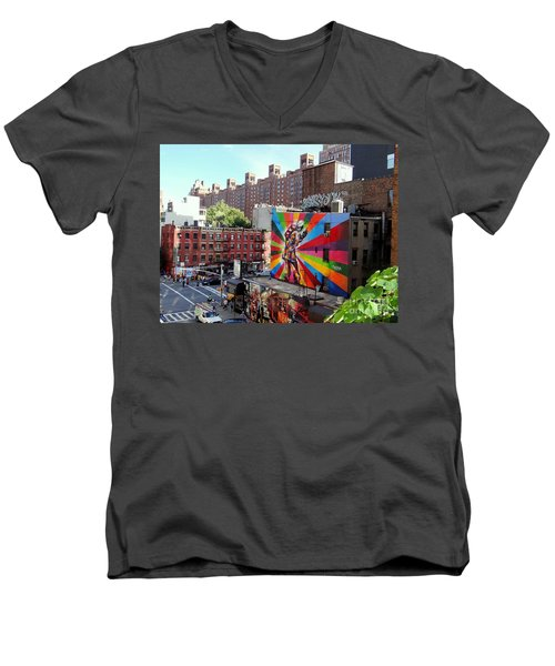 View From The Highline Men's V-Neck T-Shirt by Ed Weidman