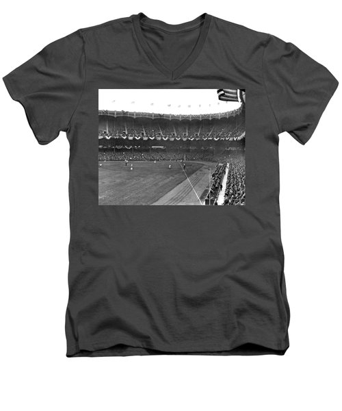 View Of Yankee Stadium Men's V-Neck T-Shirt by Underwood Archives