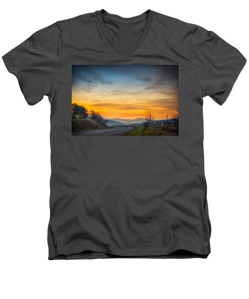 View Over Llyn Celyn Towards Bala Men's V-Neck T-Shirt