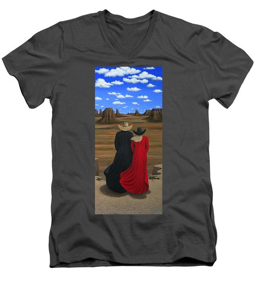 View West Men's V-Neck T-Shirt by Lance Headlee