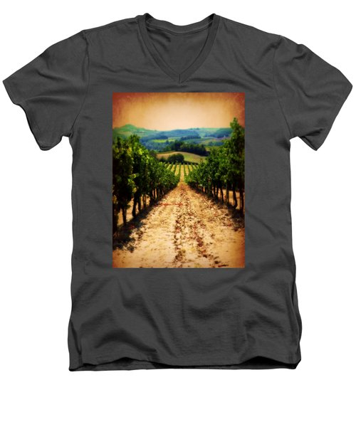 Men's V-Neck T-Shirt featuring the photograph Vigneto Toscana by Micki Findlay