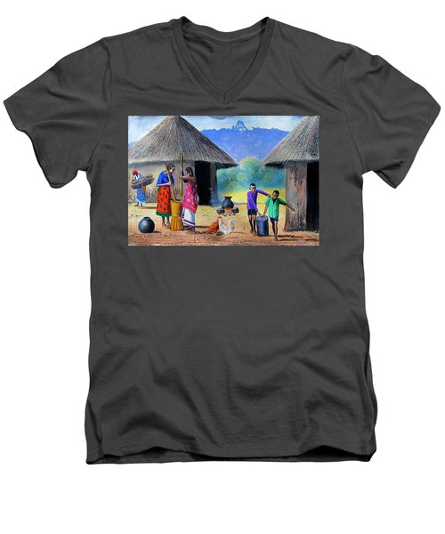 Village Chores Men's V-Neck T-Shirt