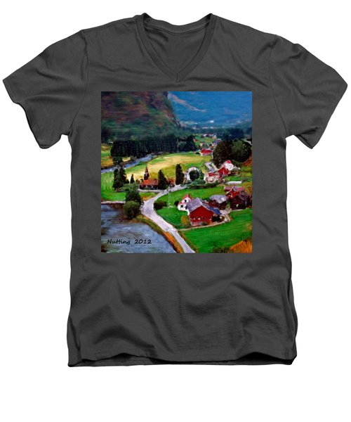 Men's V-Neck T-Shirt featuring the painting Village In The Mountains by Bruce Nutting