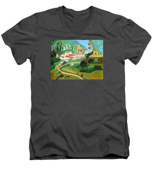 Men's V-Neck T-Shirt featuring the painting Village In The Mountains  by Magdalena Frohnsdorff