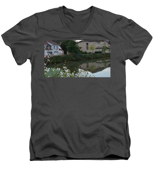 Village Life Men's V-Neck T-Shirt by Cheryl Miller