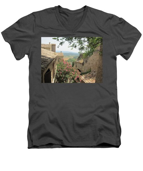 Men's V-Neck T-Shirt featuring the photograph Village Vista by Pema Hou