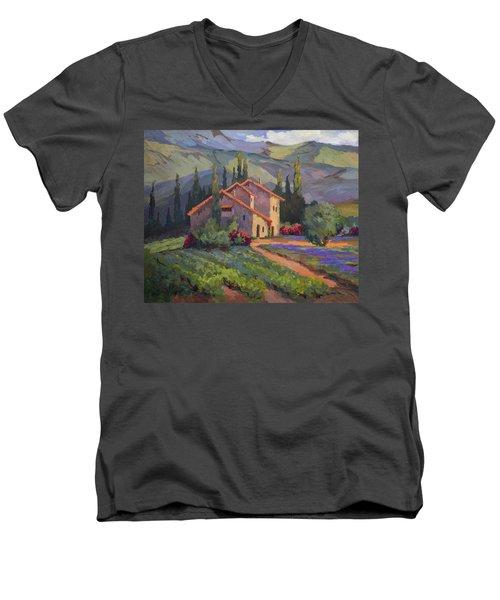 Vineyard And Lavender In Provence Men's V-Neck T-Shirt