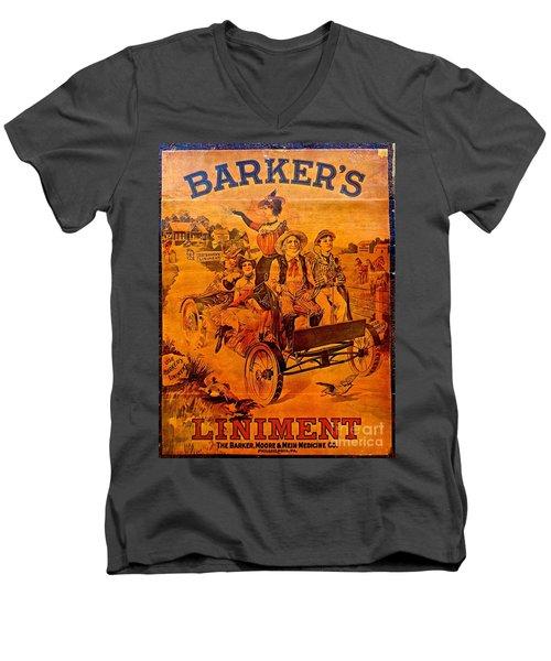 Vintage Ad Barker's Liniment Men's V-Neck T-Shirt by Saundra Myles