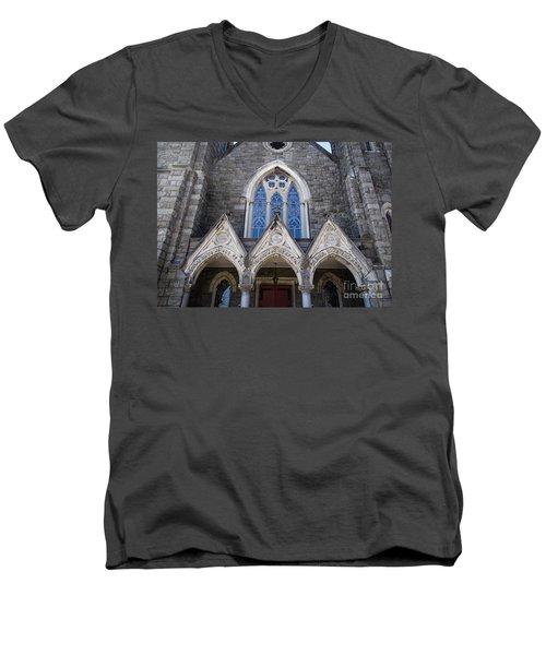 Men's V-Neck T-Shirt featuring the digital art Vintage Block Church Circa 1901 by Melissa Messick