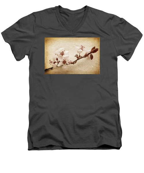 Men's V-Neck T-Shirt featuring the photograph Vintage Blossoms by Caitlyn  Grasso