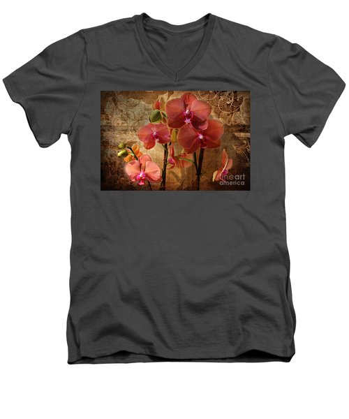 Vintage Burnt Orange Orchids Men's V-Neck T-Shirt by Judy Palkimas