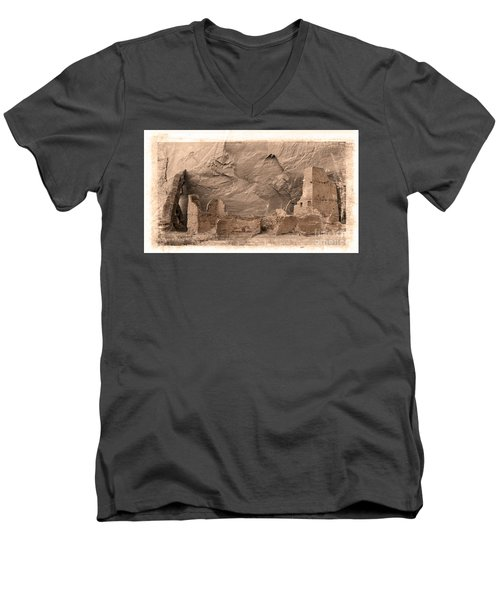 Vintage Canyon De Chelly Men's V-Neck T-Shirt by Jerry Fornarotto