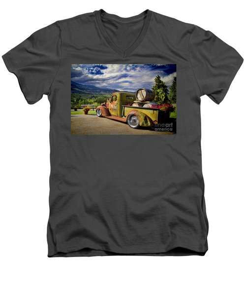 Vintage Chevy Truck At Oliver Twist Winery Men's V-Neck T-Shirt