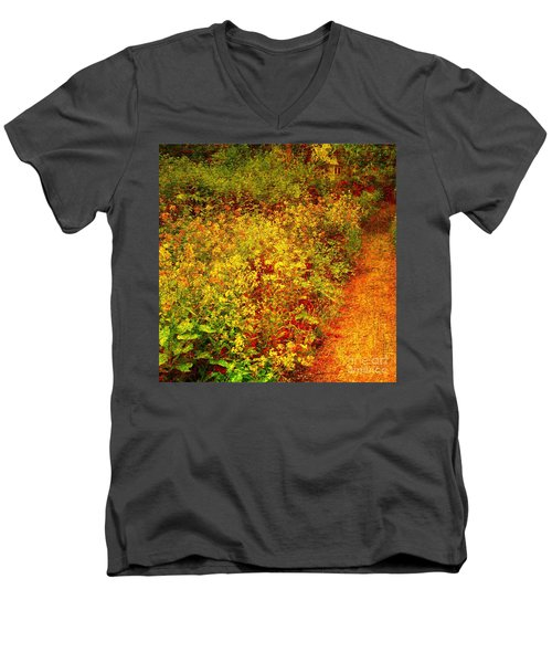 Men's V-Neck T-Shirt featuring the photograph Vintage Garden Path by Terri Gostola