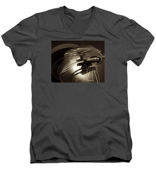 Men's V-Neck T-Shirt featuring the photograph Vintage Hood Ornament - Sepia Art Decoprint by Jane Eleanor Nicholas