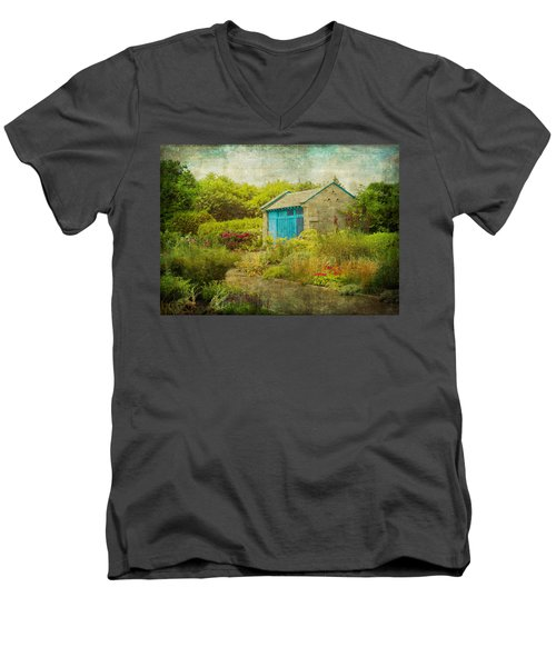 Vintage Inspired Garden Shed With Blue Door Men's V-Neck T-Shirt by Brooke T Ryan