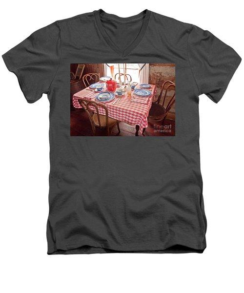 Vintage Kitchen Table Art Prints Men's V-Neck T-Shirt by Valerie Garner