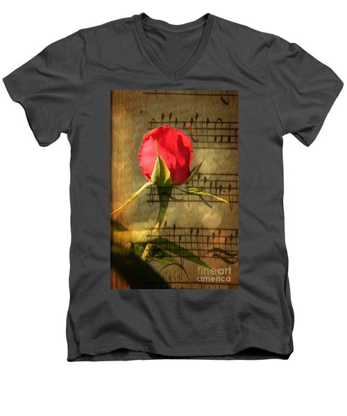 Men's V-Neck T-Shirt featuring the photograph Vintage Love Story Symphony by Judy Palkimas