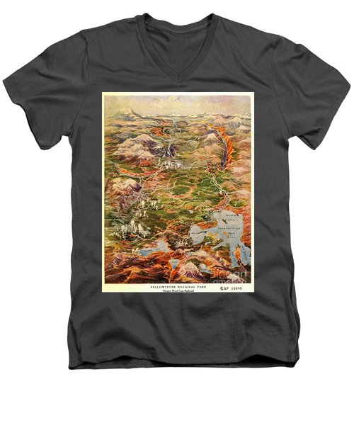 Vintage Map Of Yellowstone National Park Men's V-Neck T-Shirt