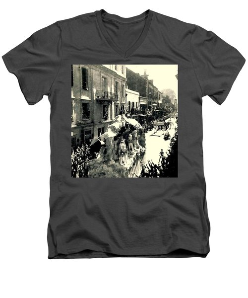Men's V-Neck T-Shirt featuring the photograph New Orleans Vintage Mardi Gras In The French Quarter Of  Louisiana  1960 by Michael Hoard