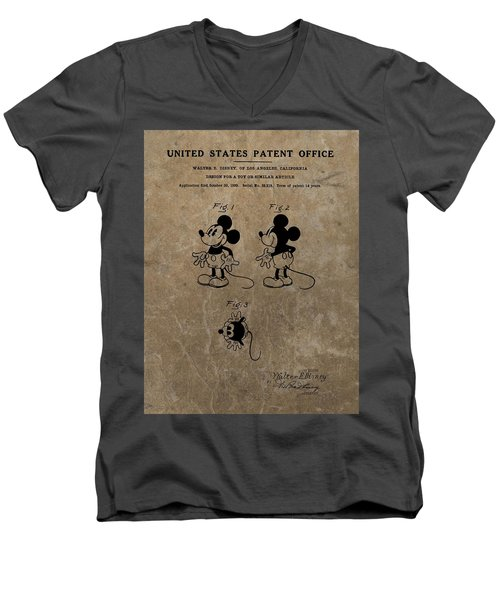 Vintage Mickey Mouse Patent Men's V-Neck T-Shirt