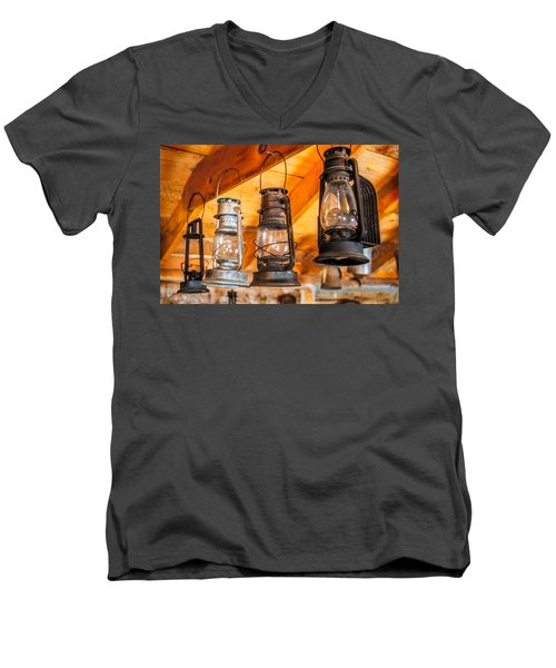 Vintage Oil Lanterns Men's V-Neck T-Shirt by Paul Freidlund