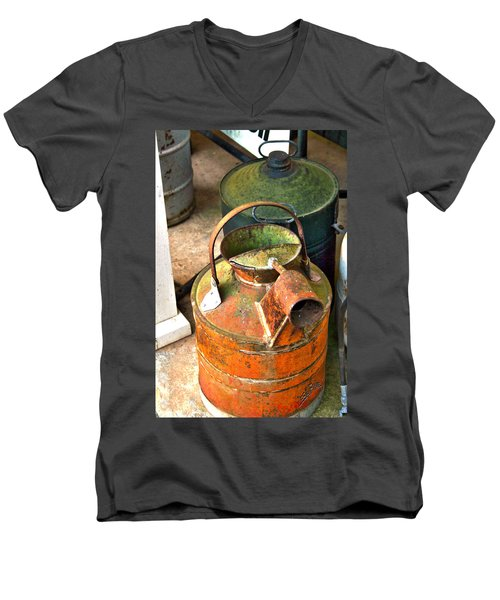 Men's V-Neck T-Shirt featuring the photograph Vintage Orange And Green Galvanized Containers by Lesa Fine
