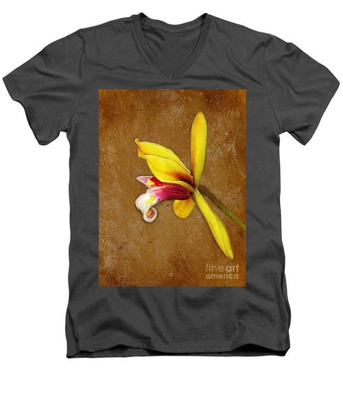 Vintage Orchid Men's V-Neck T-Shirt by Judi Bagwell