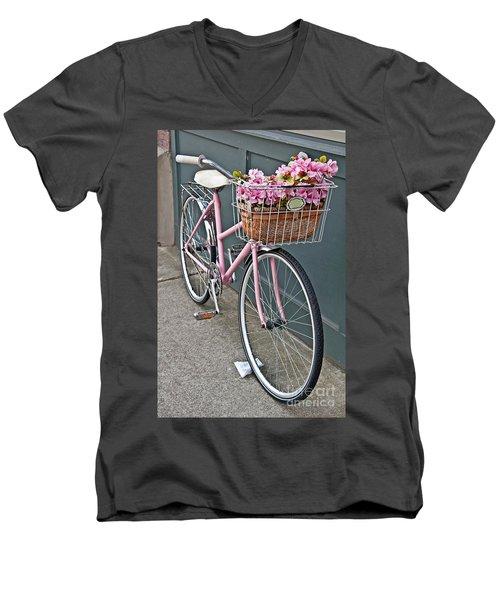 Vintage Pink Bicycle With Pink Flowers Art Prints Men's V-Neck T-Shirt by Valerie Garner