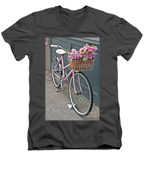 Vintage Pink Bicycle With Pink Flowers Art Prints Men's V-Neck T-Shirt