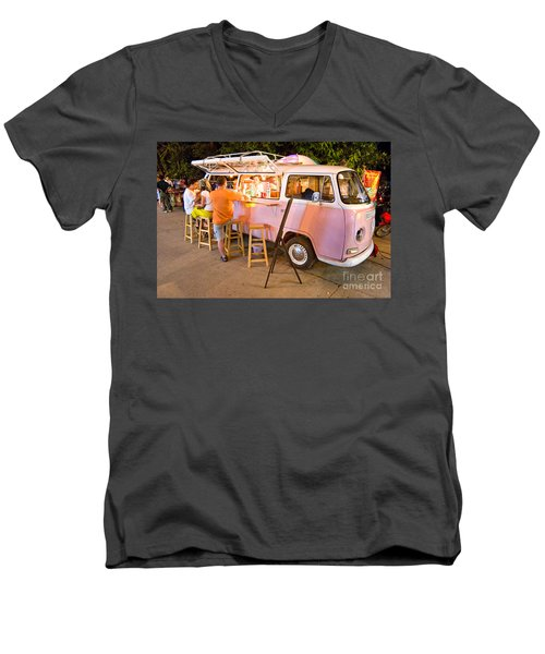 Vintage Pink Volkswagen Bus Men's V-Neck T-Shirt by Luciano Mortula
