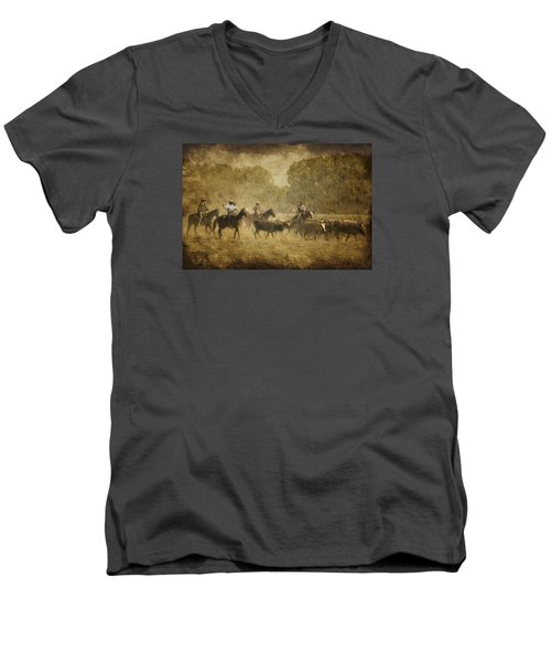 Vintage Roundup Men's V-Neck T-Shirt by Priscilla Burgers