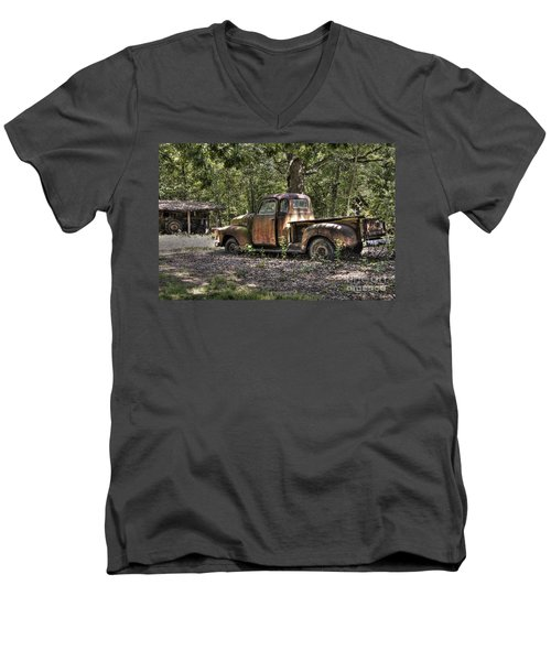 Vintage Rust Men's V-Neck T-Shirt by Benanne Stiens