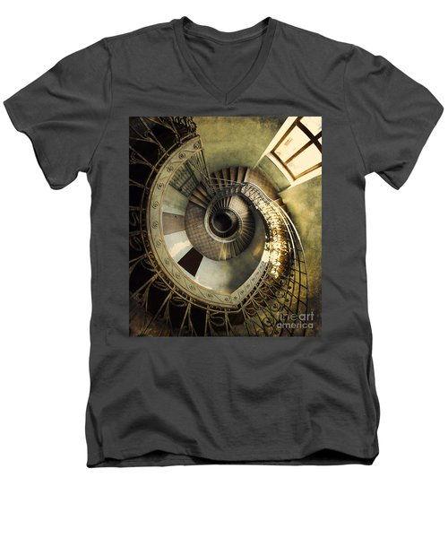 Vintage Spiral Staircase Men's V-Neck T-Shirt