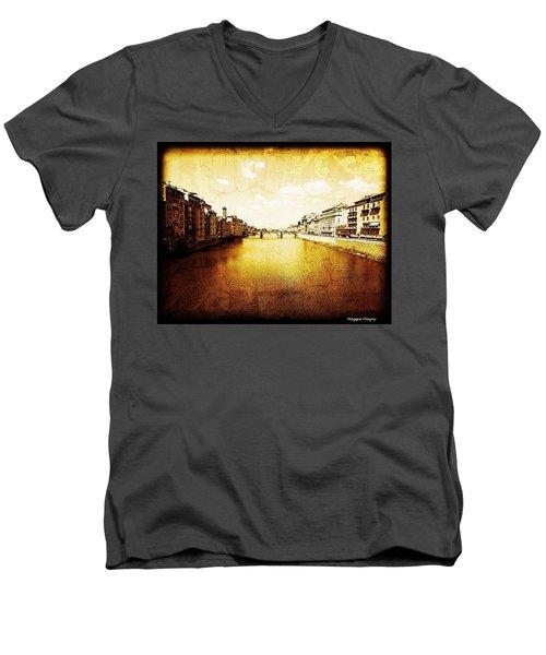 Vintage View Of River Arno Men's V-Neck T-Shirt