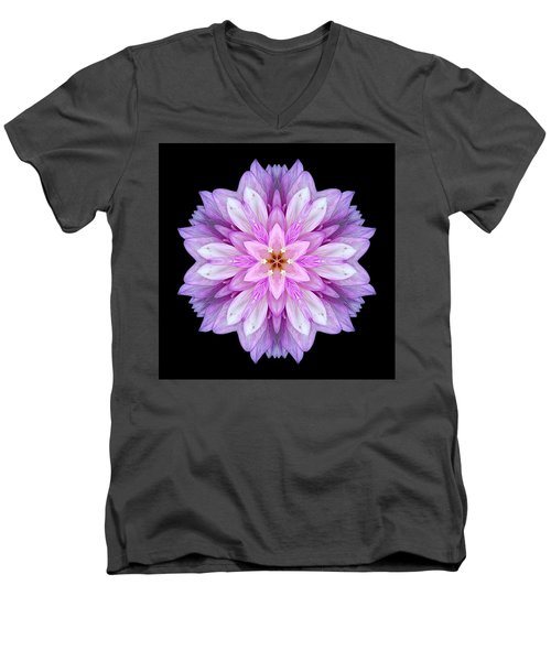 Violet Dahlia I Flower Mandala Men's V-Neck T-Shirt by David J Bookbinder