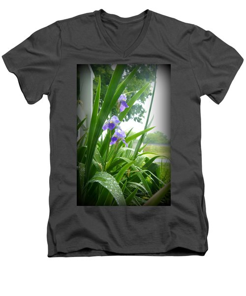 Men's V-Neck T-Shirt featuring the photograph Iris With Dew by Laurie Perry