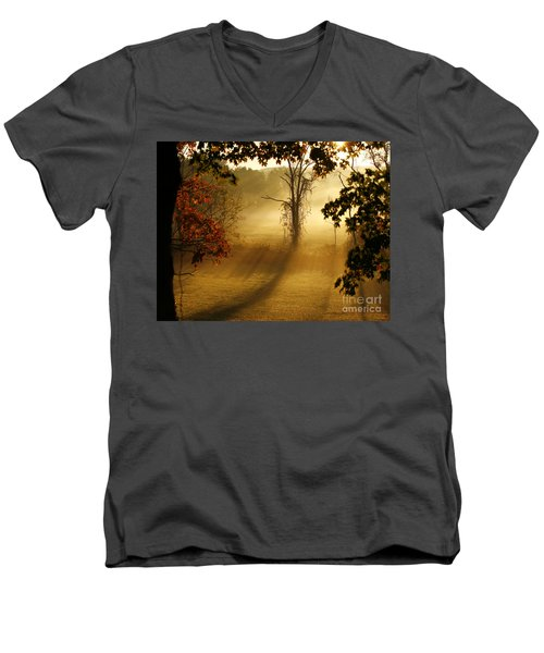 Virginia Sunrise Men's V-Neck T-Shirt by Carol Lynn Coronios