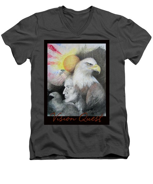 Vision Quest - Native American Art - Pastel And Pencil Men's V-Neck T-Shirt