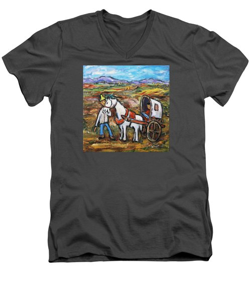 Men's V-Neck T-Shirt featuring the painting Visit The In-laws by Xueling Zou