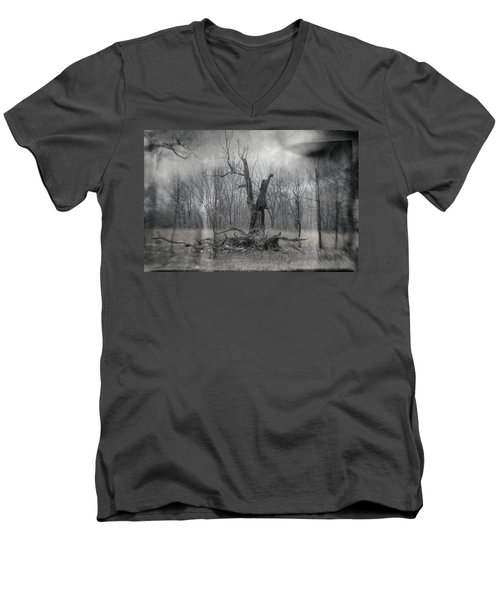 Visitor In The Woods Men's V-Neck T-Shirt