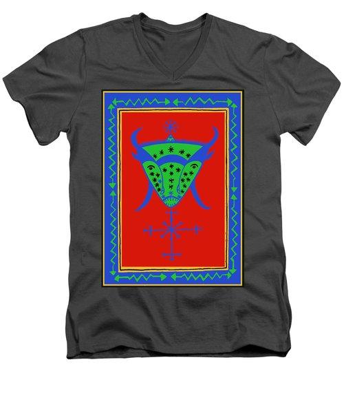 Men's V-Neck T-Shirt featuring the digital art Voodoo Bosou by Vagabond Folk Art - Virginia Vivier