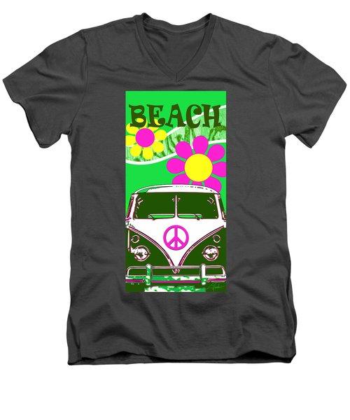 Vw Beach  Green Men's V-Neck T-Shirt