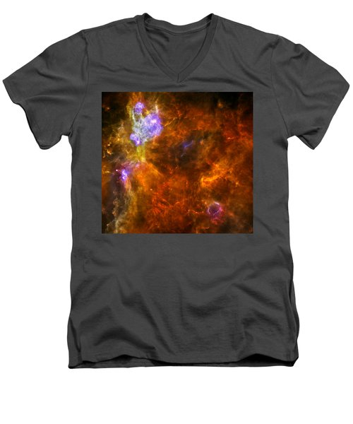 Men's V-Neck T-Shirt featuring the photograph W3 Nebula by Science Source