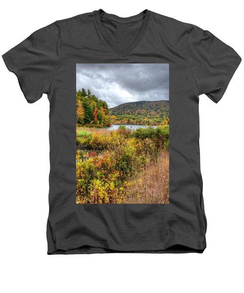 Wachusett Mt. In Autumn Men's V-Neck T-Shirt