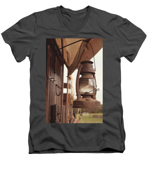 Wagon Lantern Men's V-Neck T-Shirt by Toni Hopper